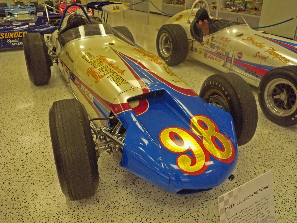 It is a fine looking automobile but Parnelli Joneswinning car in 1963 the Willard Battery Special. was the penultimate roadster to win the 500.
