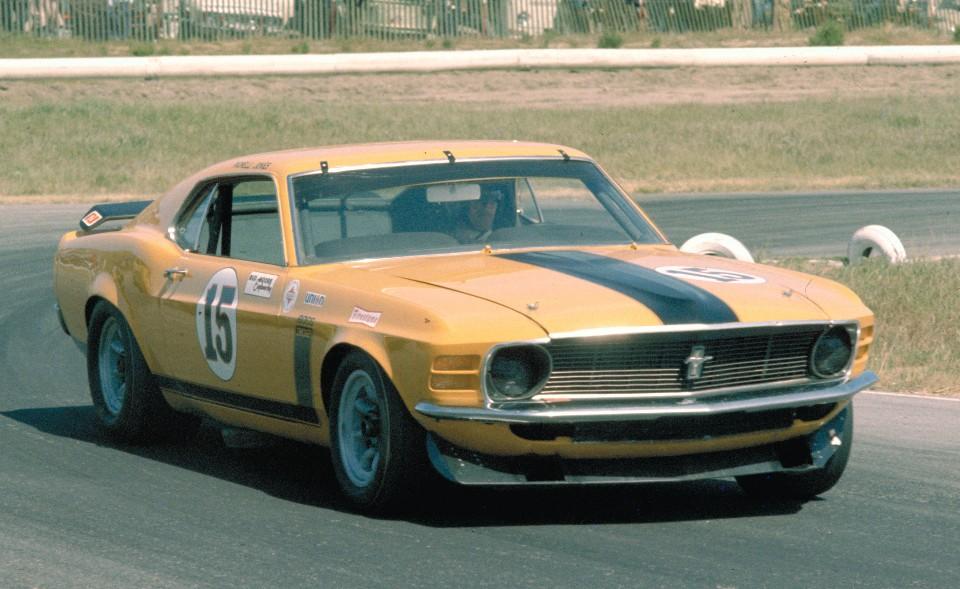 Parnelli Jones in the Bud Moore Trans Am Mustang in 1970