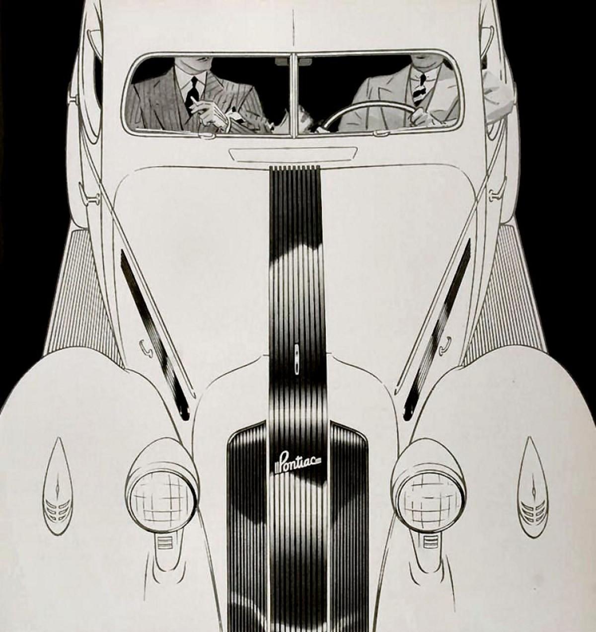1935 Pontiac with brand identifying silver streaks