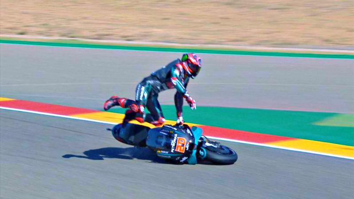 2020 Aragon MotoGP Quartararo crash