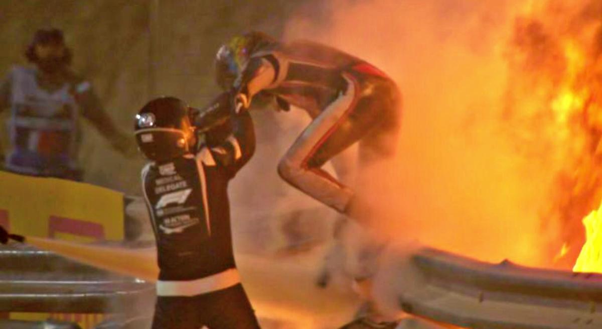 bahrain grosjean fire 1