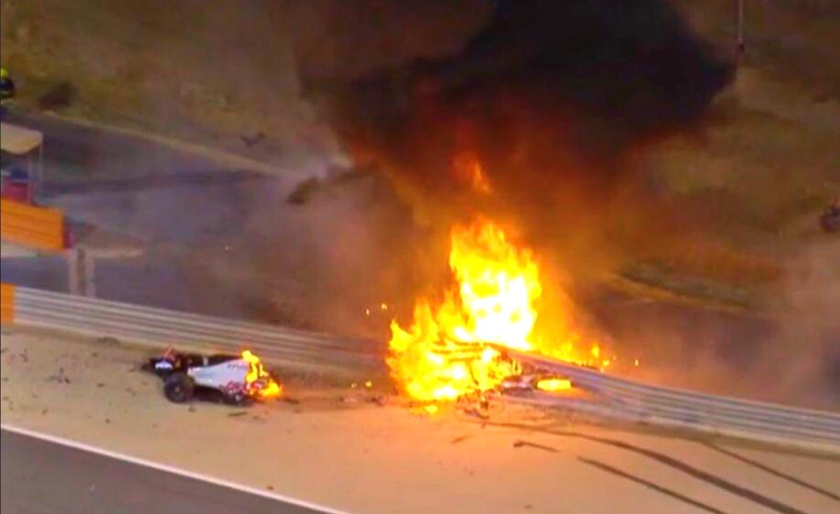 bahrain grosjean fire 2