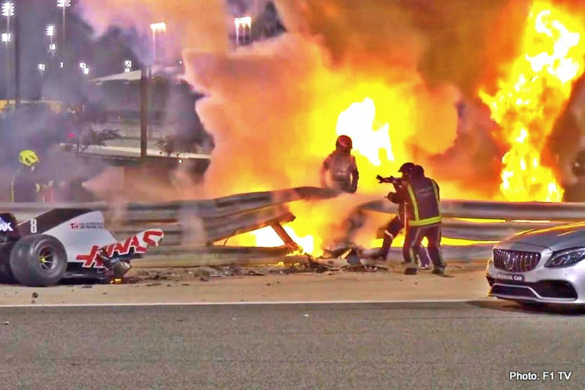 bahrain grosjean fire 3