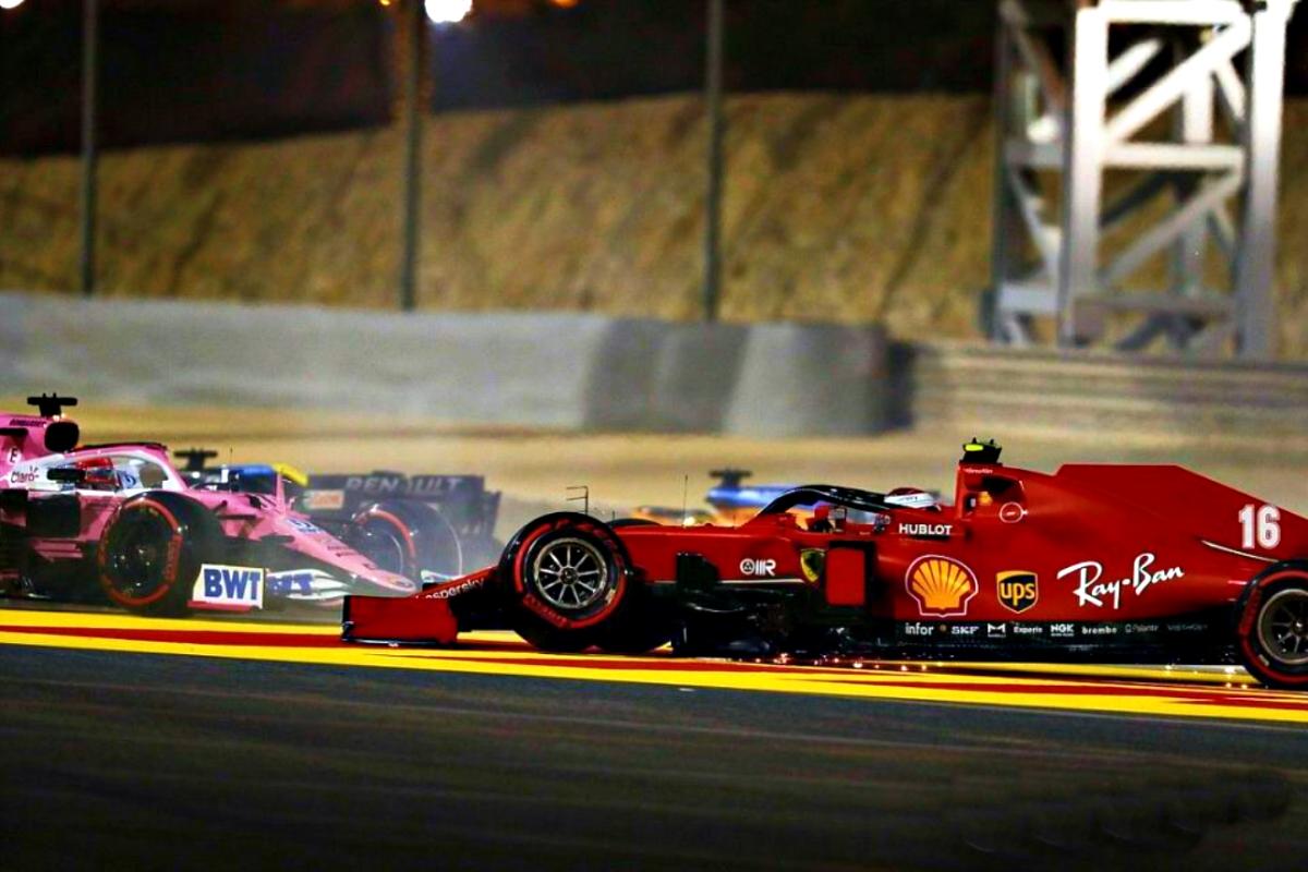 2020 Sakhir Grand Prix Leclerc hits Perez