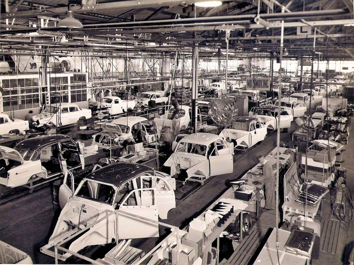 FE Holden production line at Pagewood in Sydney