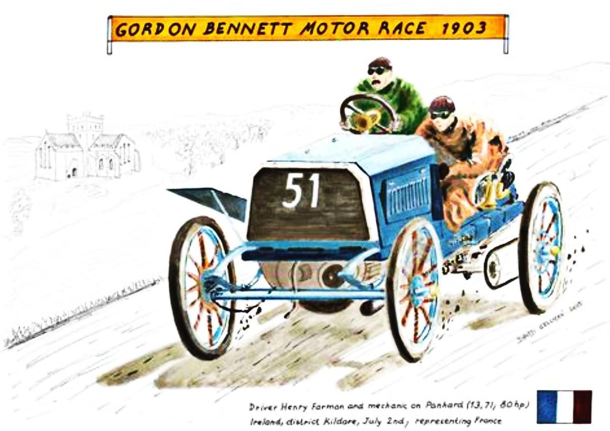 1903 Farman on Panhard in Gordon Bennett motor race