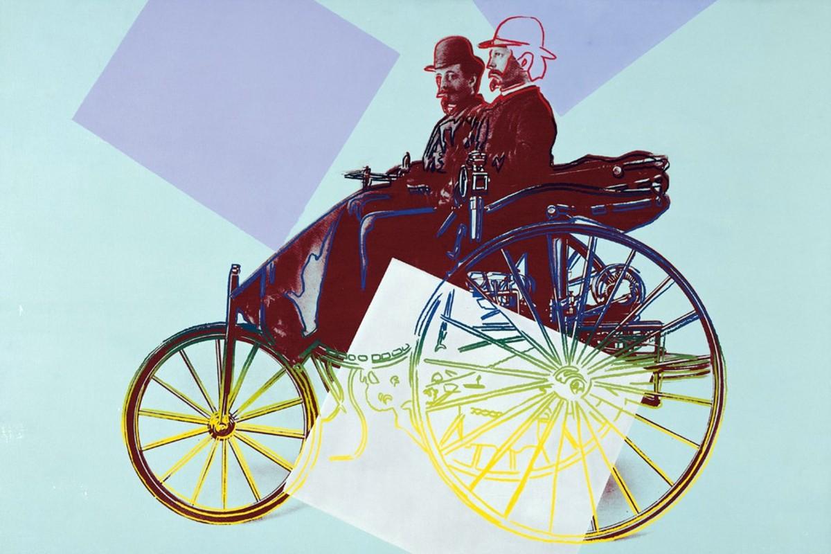 1886 Karl Benz mit seinem kaufmannischen Angestellten Josef Brecht auf dem Benz Patent Motorwagen 1986
