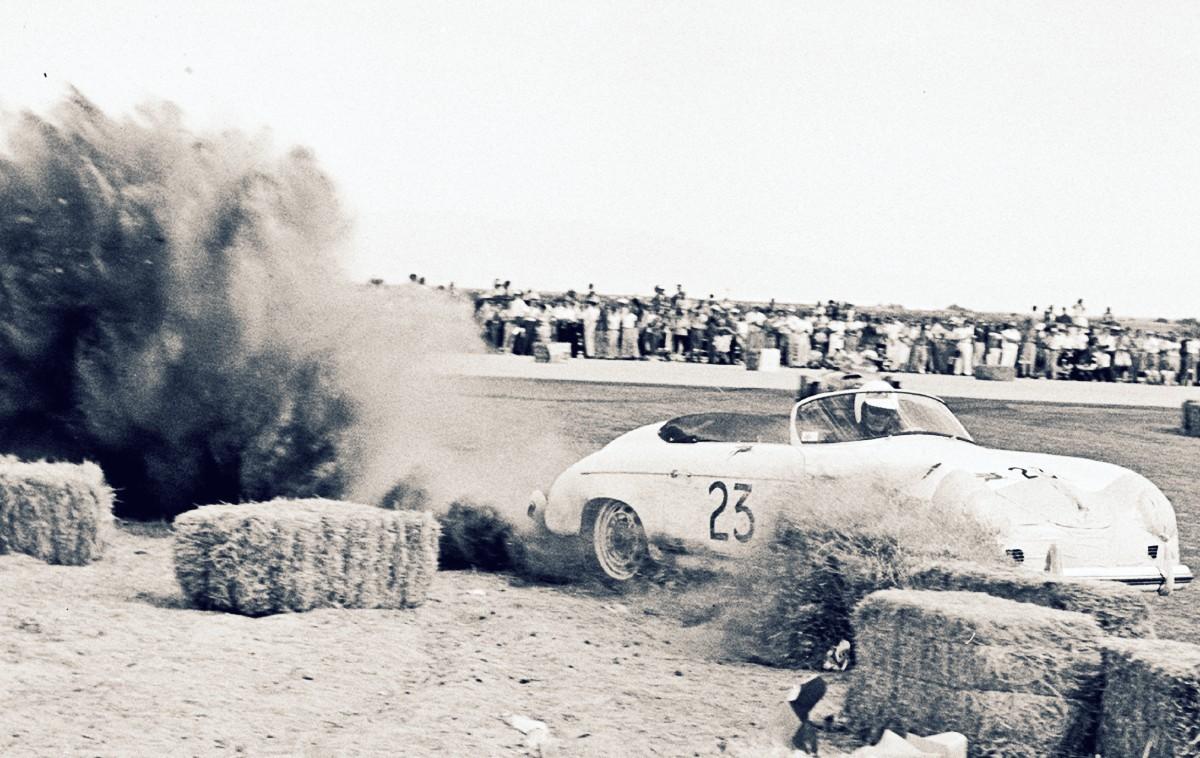 James Dean struggles to control his Porsche Speedster