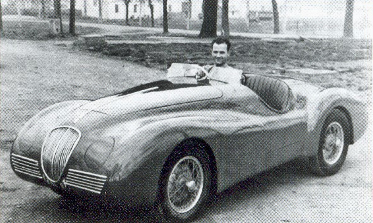 Bandini in his first car the 1946 Bandini 1100