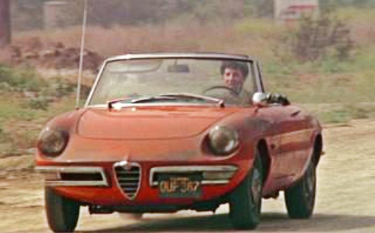 Dustin Hoffman at the wheel of the Alfa