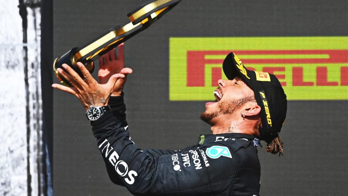 Lewis Hamilton celebrates 1